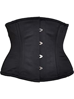0e6a060d212 Killer Corsets Women s Corset Satin Waist Cincher in Black Steel Boned  Design