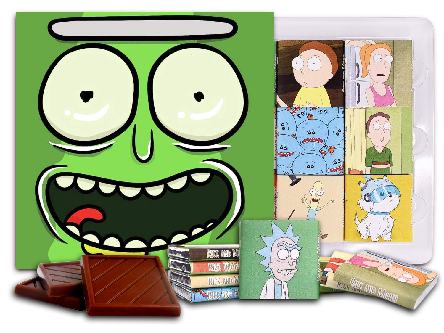 DA CHOCOLATE Candy Souvenir RICK and MORTY Chocolate Gift Set 5x5in 1 box (Pickle Rick)