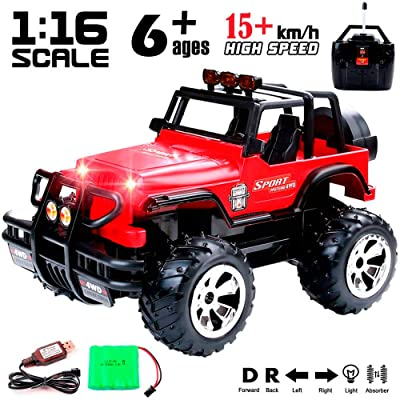 1:16 Scale Super Duty Radio Remote Control Jeep Vehicle Off Road Powerful Cross Country SUV All Terrain Car with Lights and Sounds, Great Gift for Kids Red: Toys & Games