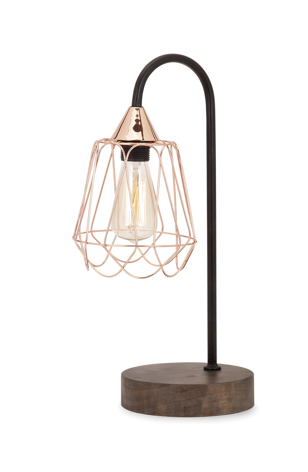 IMAX 89992 Tilton Copper and Wood Table Lamp with 60% Iron, Copper Wire Shade and Pinewood Base – Handcrafted Desk Lamp for Living Room, Bedroom, Side Tables. Home Decor Accessories