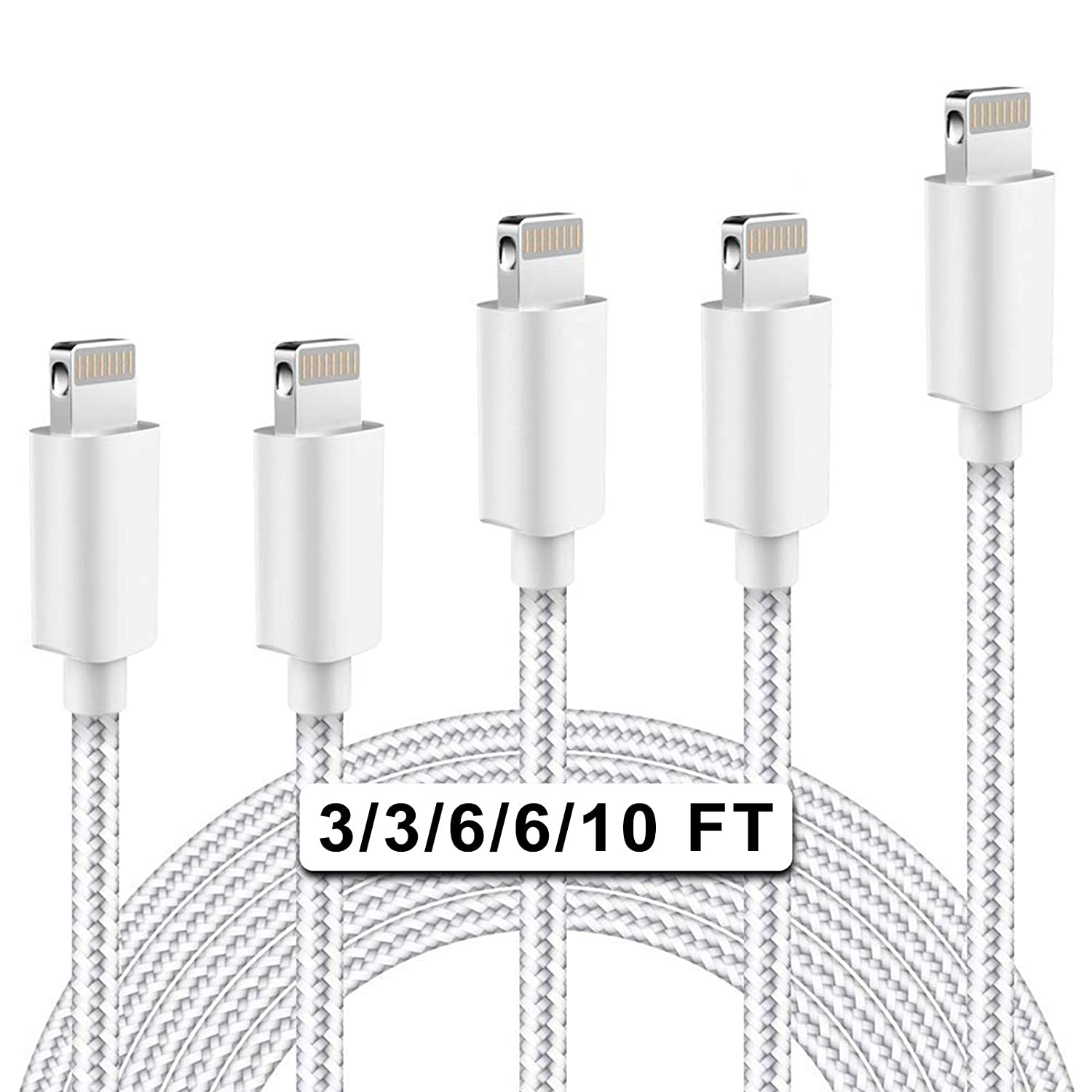 iPhone Charger MFi Certified Lightning Cable SANYEYE 5Pack(3/3/6/6/10ft) Nylon Braided Fast Charging & Sync Compatible iPhone 11/ Pro/Max/X/XS/XR/XS Max/ 8/ Plus/7/7 Plus/6/6S/6 Plus