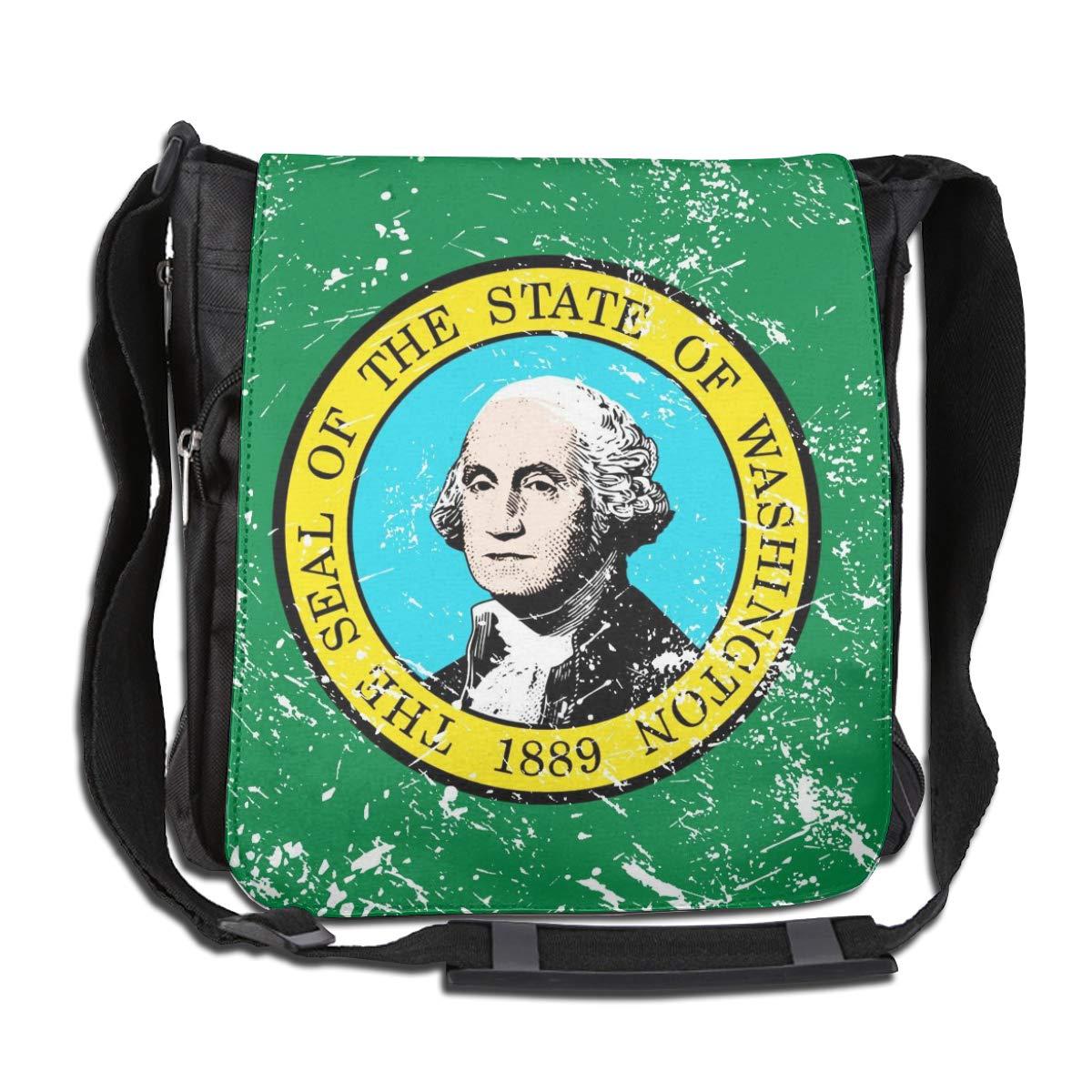 Washington State Flag Crossbody Shoulder Bag Adjustable Casual Daily Messenger Bag Satchel School Bag For Women And Men