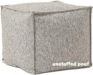 """idee-home Unstuffed Pouf Cover, Storage Bean Bag Cubes, Ottoman Pouf Foot Rest Footstool, Solid Square Pouf, 17.7""""x17.7""""x15.7"""", ONLY Cover"""