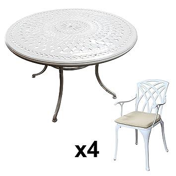 Lazy Susan - Table Ronde 120 cm Alice et 4 chaises de Jardin - Salon de  Jardin en Aluminium moulé, Blanc (chaises April, Coussins Beiges)