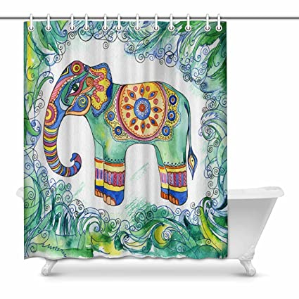 InterestPrint Elephant African Indian Totem Tattoo Design Fabric Shower Curtain Decor With Hooks 60 X