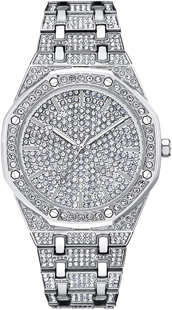 cilyberya Reloj Iced out Hip Hop para Hombre Bling Bling