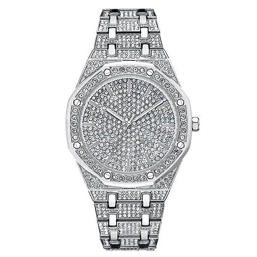 livraison gratuite a97c0 bade0 Hommes Bling Montres Mode de Diamant Strass Montre-Bracelet ...