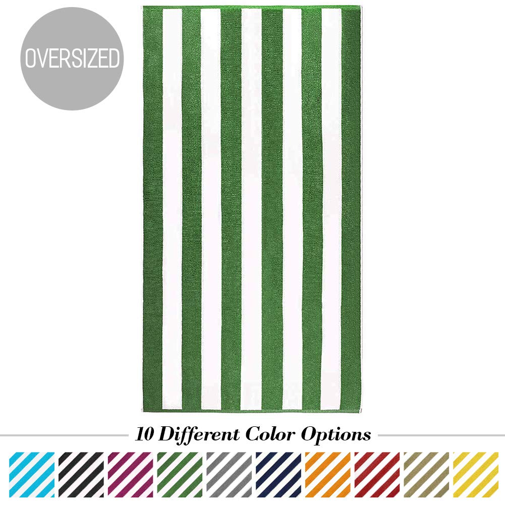 Caravalli Egyptian Cotton Beach Towel, Windsor Oversized Luxury Resort Towel with Large Stripes, Over Sized Super Soft Ulta Absorbent Striped Spa Towels, Thick Cabana Stripe Bath Towel (Green)