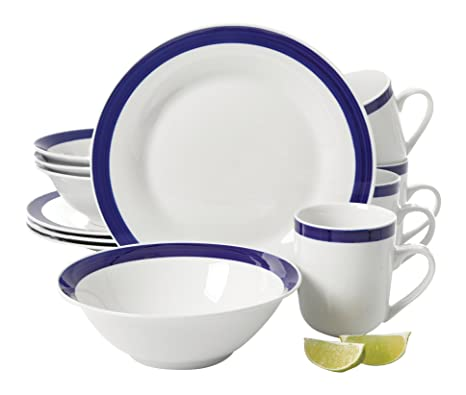 Gibson Home 12 Piece Nantucket Sail Round Banded Porcelain Dinnerware Set Blue  sc 1 st  Amazon.com & Amazon.com | Gibson Home 12 Piece Nantucket Sail Round Banded ...