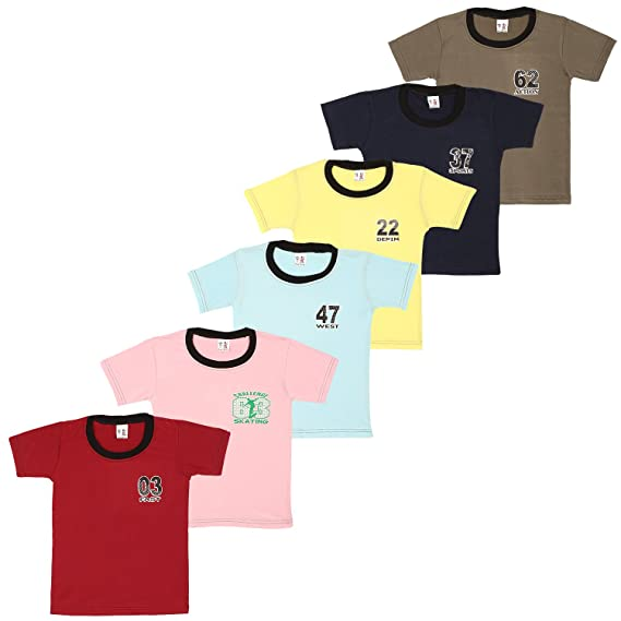3ddc51cf4206 SR Kids Wear Boy s Cotton Ribbed Neck T-Shirt - (Pack of 6)  Amazon ...