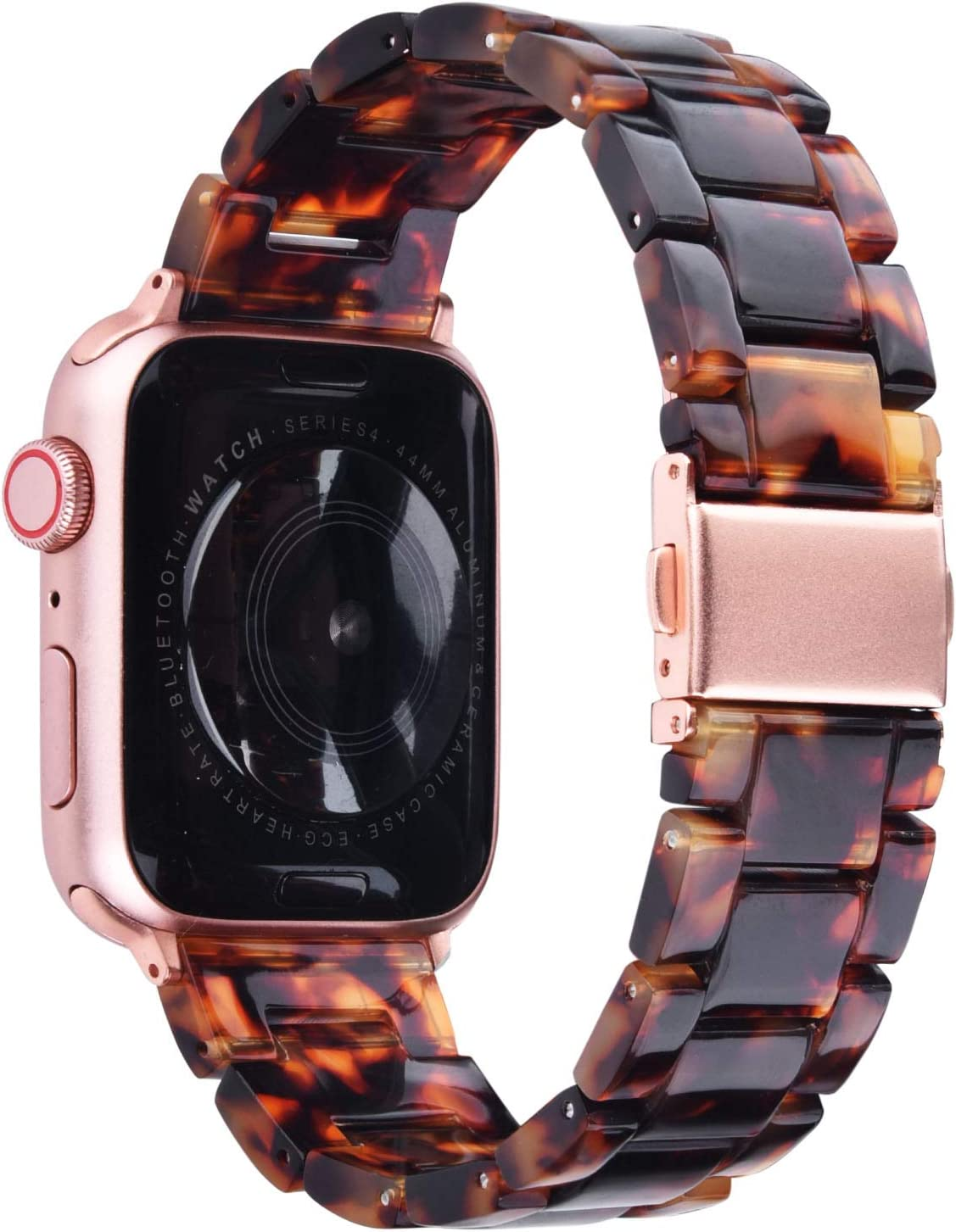 V-MORO Resin Strap Compatible with Apple Watch Band 42mm 44mm Series 5/4/3/2/1 Women Men with Stainless Steel Buckle, Apple iWatch Replacement Wristband Bracelet(Tortoiseshell, 42mm/44mm)