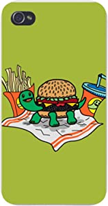Apple iPhone Custom Case 5 / 5S White Plastic Snap On - Turtle Burger Funny Turtle Shell Bun Burger w/Fries Meal