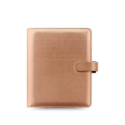 Filofax Saffiano A5 Size PU-Leather Organizer Agenda Calendar with DiLoro Jot Pad Refills (A5, Rose Gold 2017, 022572)