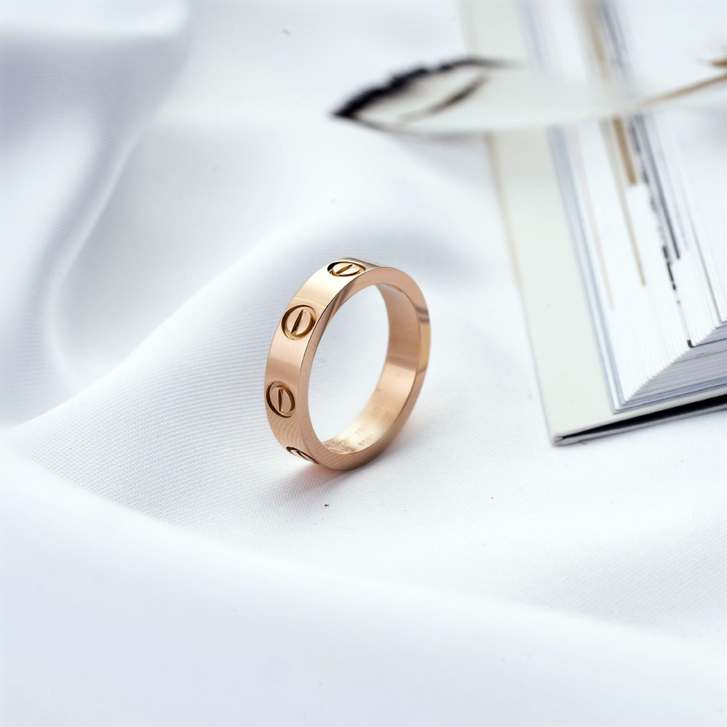 BESTJEW Rose Gold Love Screw Ring Engagement Wedding Couples Band Titanium Stainless Steel Size 9 by BESTJEW (Image #5)