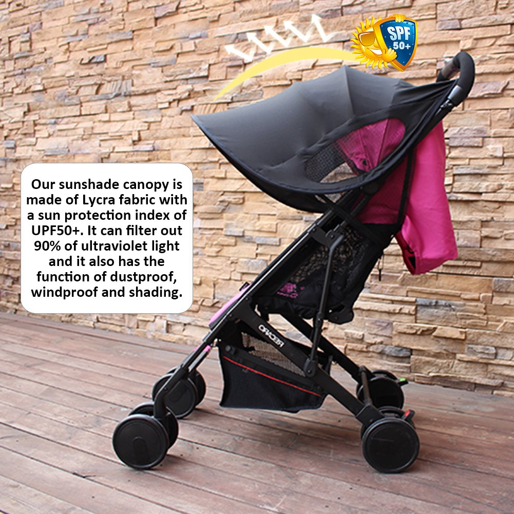 big-time Universal Canopy Baby Stroller Sunshade Cover BreathableLight-proofUPF 50+ UV Protection Stroller Cover for Baby Strollers (Black) by big-time (Image #6)