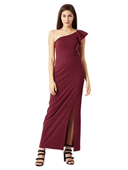 15e544046e0 Miss Chase Women s Wine Red One Shoulder Slit Maxi Dress(MCPW17D10-26-143