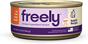 Freely Limited Ingredient Diet, Wet Cat Food, Natural Grain Free Cat Food Canned, Rabbit, 5.5oz x 12 cans