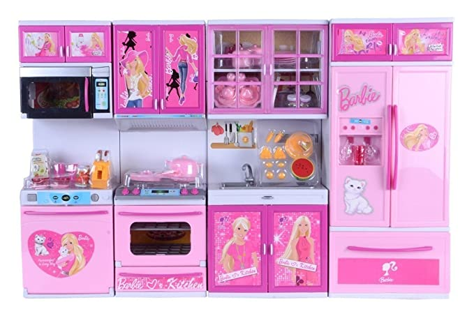 Buy Toy Box Barbie Vogue Beauty Kitchen Cooking Fun Kitchen Multi Color Toy Play Large Online At Low Prices In India Amazon In