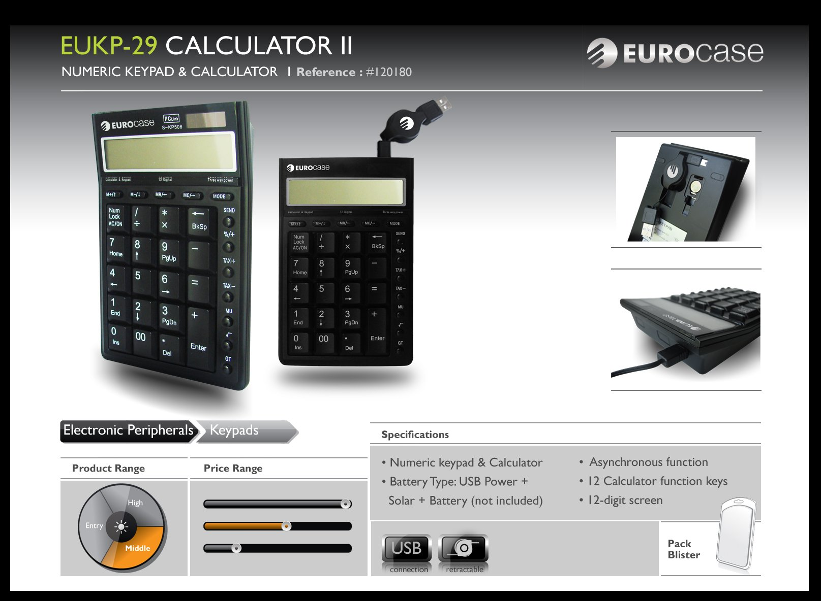 EuroCase EUKP-29 CALCULATOR II USB Numeric Keypad with calculator functions by EuroCase