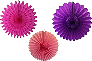 product image for Devra Party 3-Piece Tissue Paper Fans, Purple Pink, 13-18 Inch