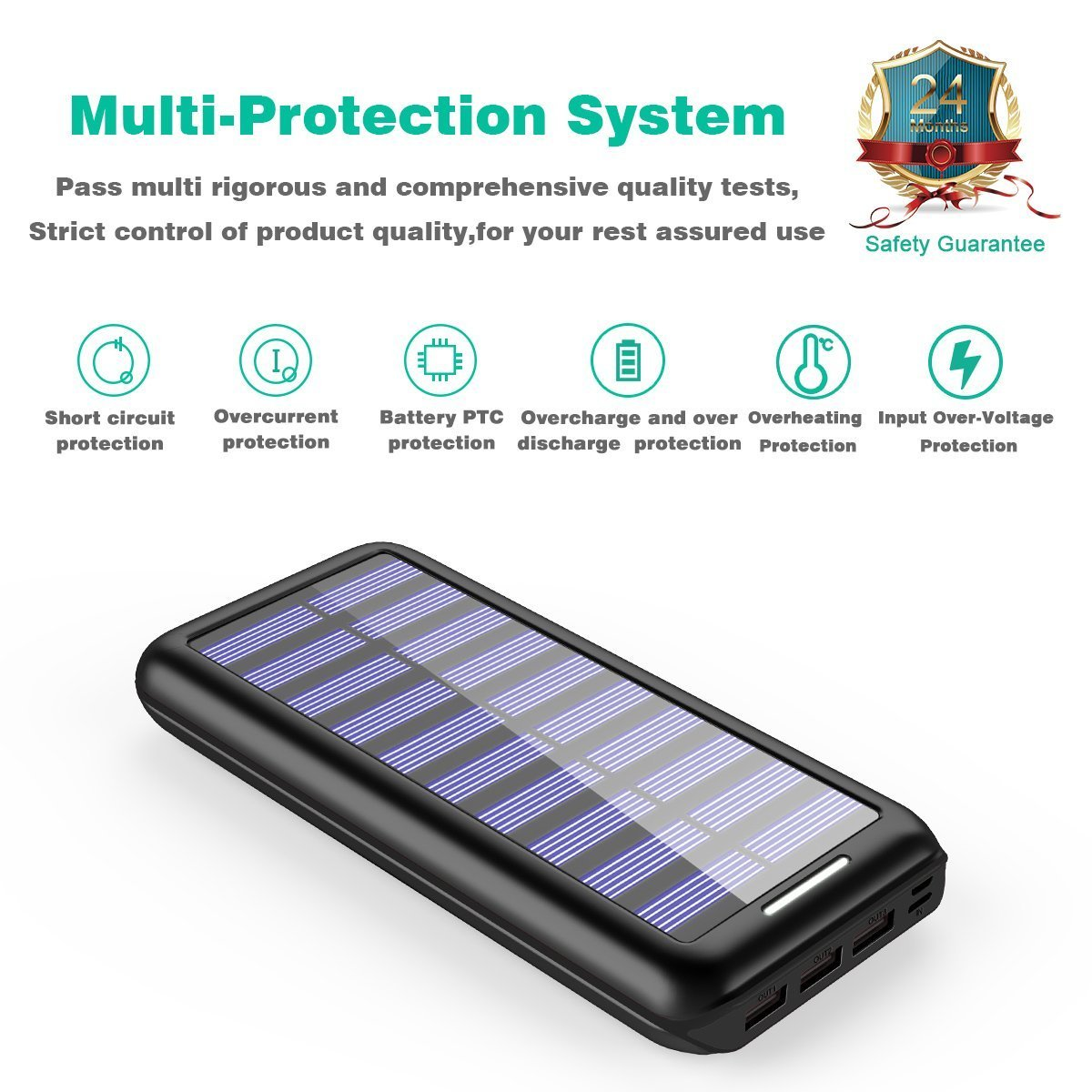 Solar Charger 24000mah Portable Chargerplochy Power Bank Battery With Overcharge Protection Electronic Phone 3 Fast Charging Usb Port And Dual Input External Pack For All