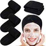 Spa Facial Headband Whaline Head Wrap Terry Cloth Headband 4 Counts Stretch Towel with Magic Tape for Bath, Makeup and Sport (Black)