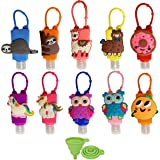 DARUNAXY Mini 30ml Assorted Silicone Bottles Holder Detachable Kids Cartoon Travel Portable Plastic Leak Proof Bottles Keycha