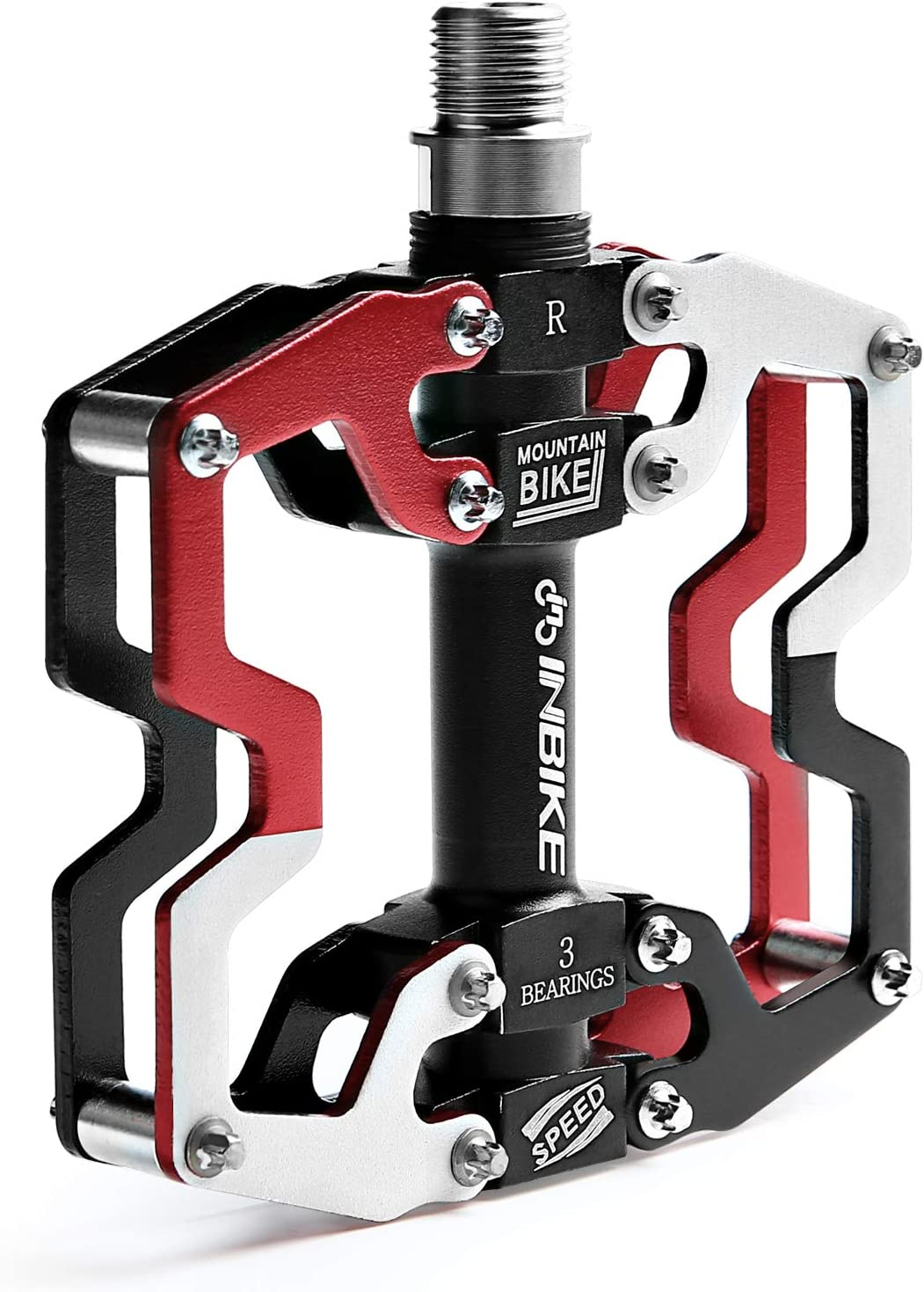 INBIKE Bike Pedals Mountain Road In-Mold CNC Machined Aluminum Alloy MTB Cycling Cycle Platform Pedal