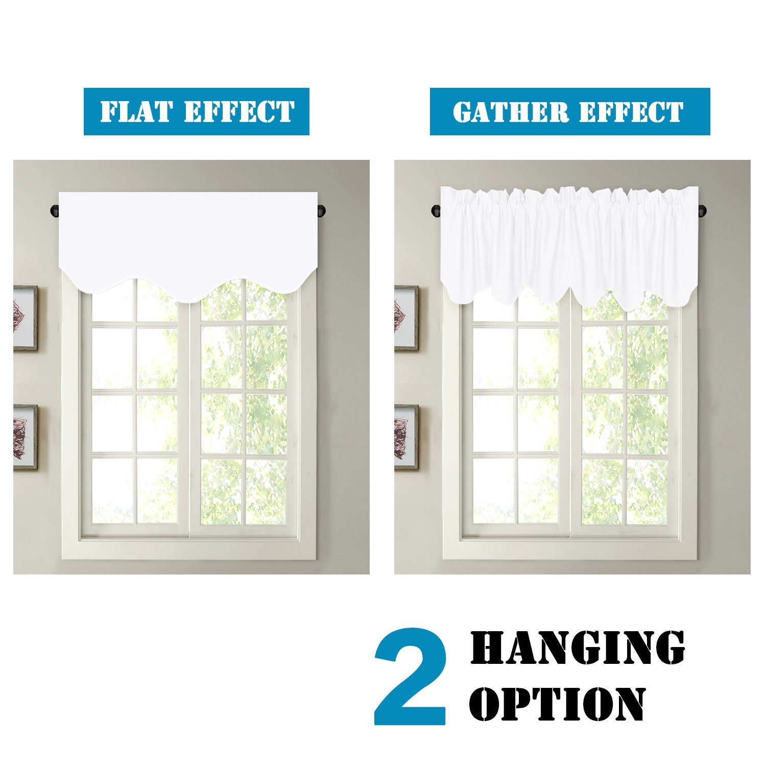 H.VERSAILTEX Privacy Protection Kitchen Valances for Windows Room Darkening Curtain Valances for Bedroom, Rod Pocket Top, 4 Pack, Pure White, 52 x 18 Inch by H.VERSAILTEX (Image #6)