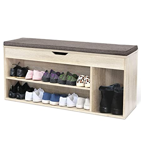Homfa Shoe Storage Bench Shoe Rack Wooden Ottoman With Hidden Storage Seat  Cushion 103.5x29.