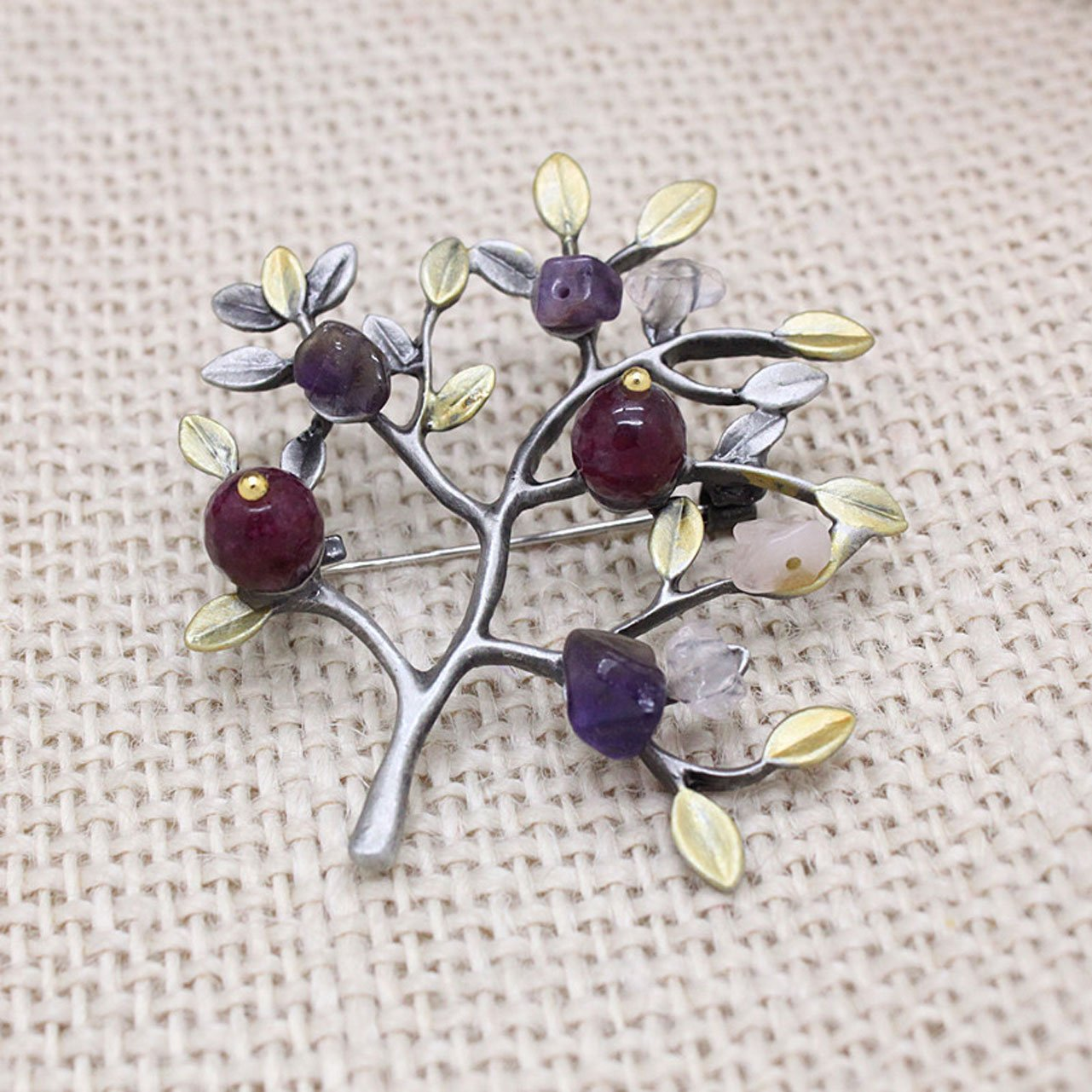 Vintage Natural Stone Brooch Pins Pendant Retro Enamel Leaves Tree Imitation Pearl Pins Brooches Jewelry for Women