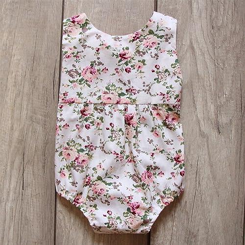 5707f6311cdf Amazon.com  Flowers Baby Girl Romper Orange Bow Bubble Romper Birthday  Gift  Handmade