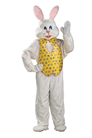 Amazon Com Adult White Easter Bunny Costume With Mascot Head And Yellow Vest Clothing