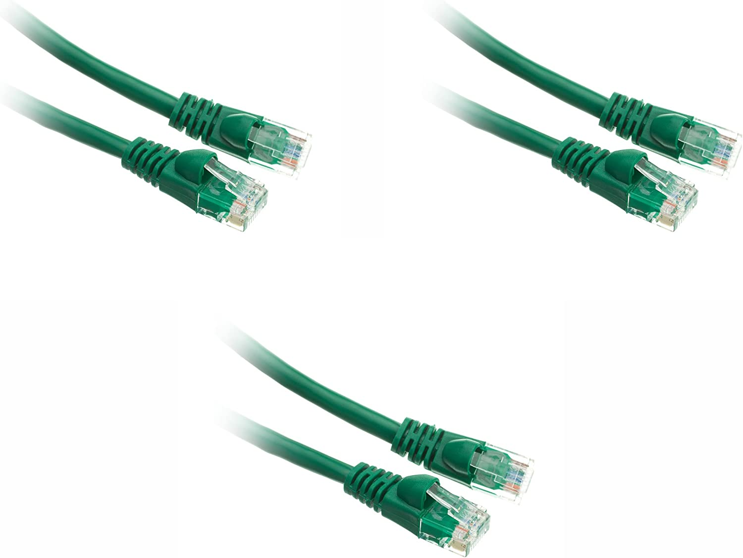 Cat5e 1-Foot Ethernet Patch Cable Green Snagless//Molded Boot 3-Pack CNE49431
