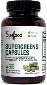 Sunfood Superfoods Supergreens Capsules. Nutrient Rich Whole Food Formula: 19 Green Superfoods, Probiotic and Enzyme Complex. 620 mg, 90 Count Bottle