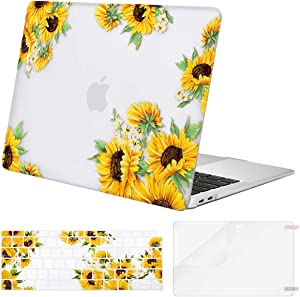 MOSISO MacBook Air 13 inch Case 2020 2019 2018 Release A2179 A1932,Plastic Sunflower Hard Shell&Keyboard Cover&Screen Protector Only Compatible with MacBook Air 13 inch with Retina Display,Transparent