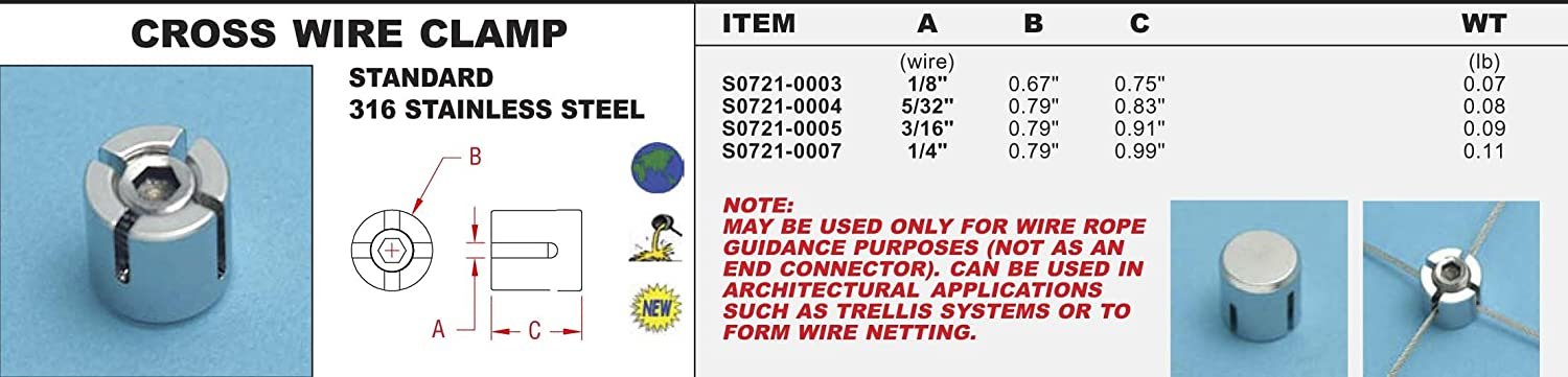 316 Stainless Steel Cross Wire Clamp 1/8\