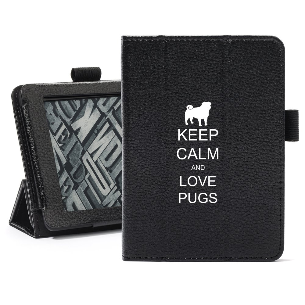 Daylor Black For Amazon Kindle Paperwhite Leather Magnetic Case Cover Stand Keep Calm and Love Pugs