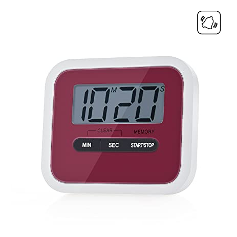 ZeWoo Kitchen Timer Magnetic Cooking Clock Mini Digital LCD Display Counts  Alarm With Clip