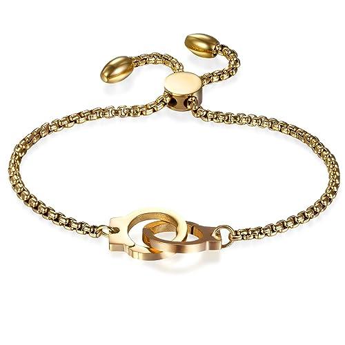 cb8b417f78af JewelryWe Schmuck Damen Armband mit Handschellen, Edelstahl Charm-Armband  Armkette Verstellbar Armkettchen Armreif, Gold  Amazon.de  Schmuck