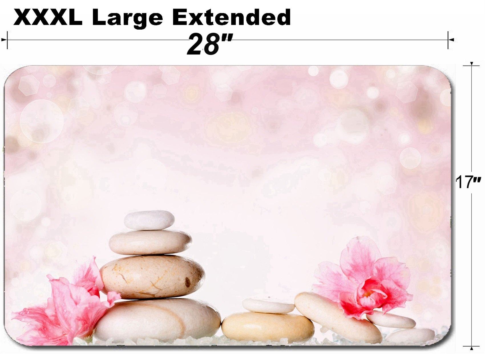 MSD Large Table Mat Non-Slip Natural Rubber Desk Pads Image ID 25083952 Spa Stones and Pink Flower on Abstract Background