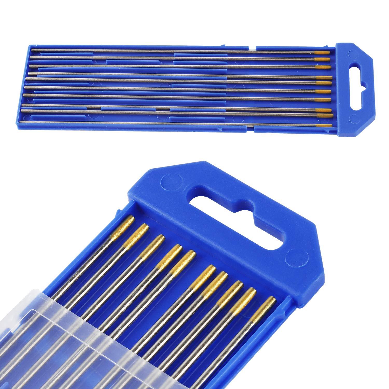 Aguja de Electrodo de Tungsteno 10 Piezas WL-15 Oro Soldadura TIG de 2,4Ø x 175 mm: Amazon.es: Bricolaje y herramientas