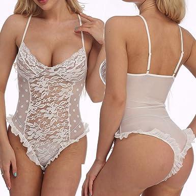 Lingerie for Women Teddy One Piece Lace Babydoll Bodysuit Deep V Nightwear Alalaso