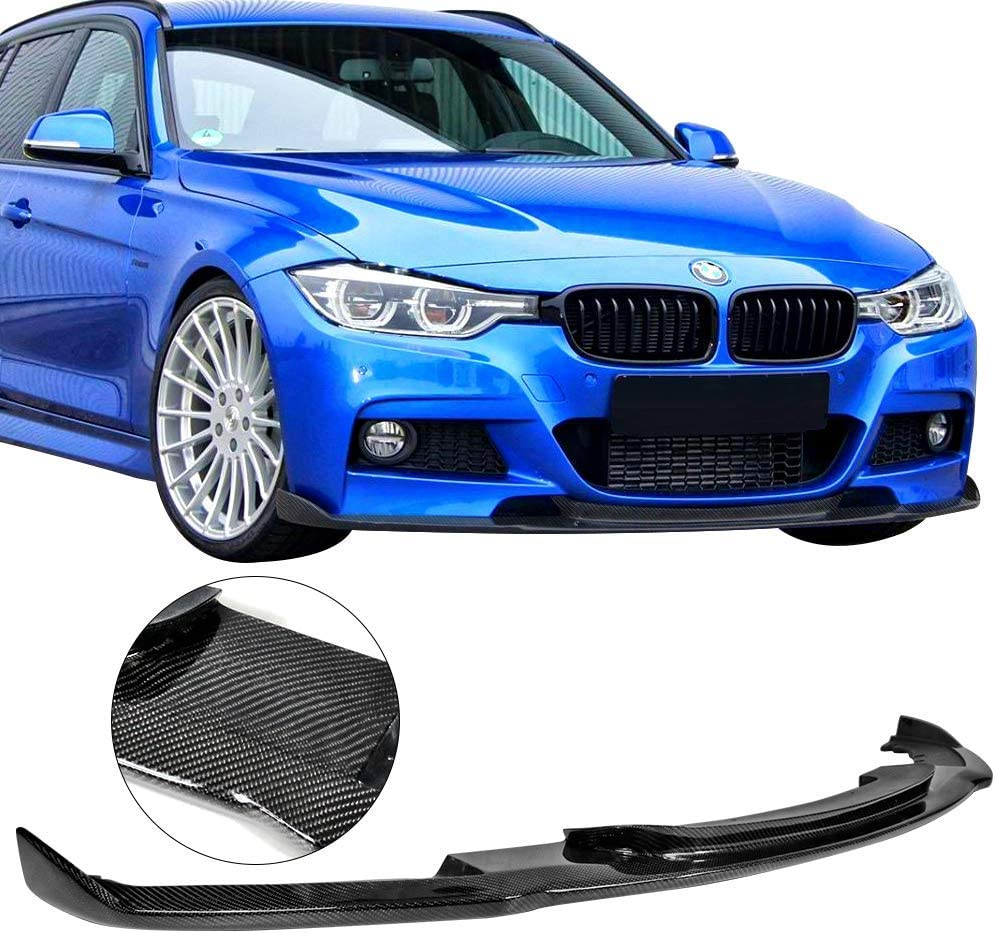 Front Bumper Lip Compatible With 2012-2018 BMW 3 Series F30 HM Style Unpainted Carbon Fiber Air Dam Chin Protector Front Bumper Lip by IKON MOTORSPORTS