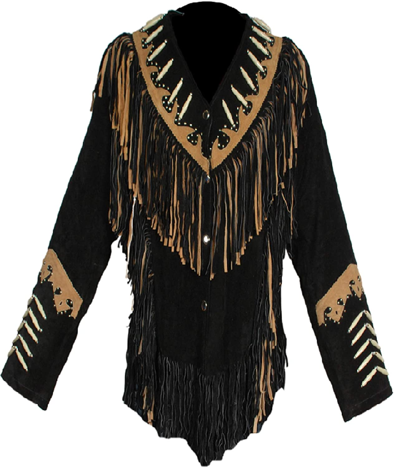 Mens Cowboy Genuine Cowhide Leather Jacket Fringe and Beaded Size Small to 4XL