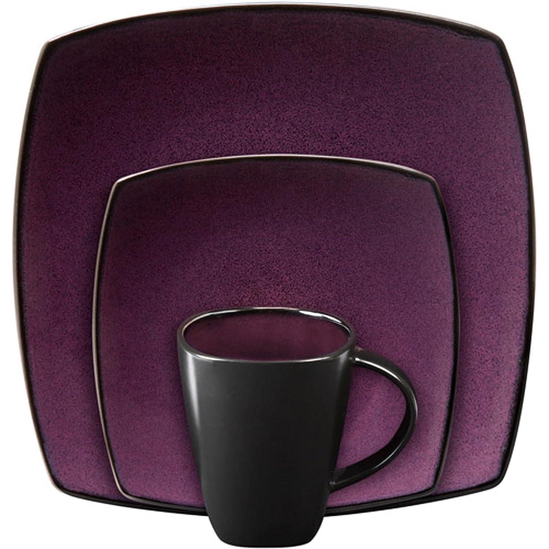 Amazon.com | Gibson Soho Lounge Purple 16 Piece Dinnerware Set: Home And  Garden Products: Dinnerware Sets