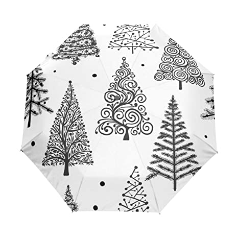 Christmas Trees Silhouette.Amazon Com Hlive Travel Umbrella Christmas Trees Silhouette