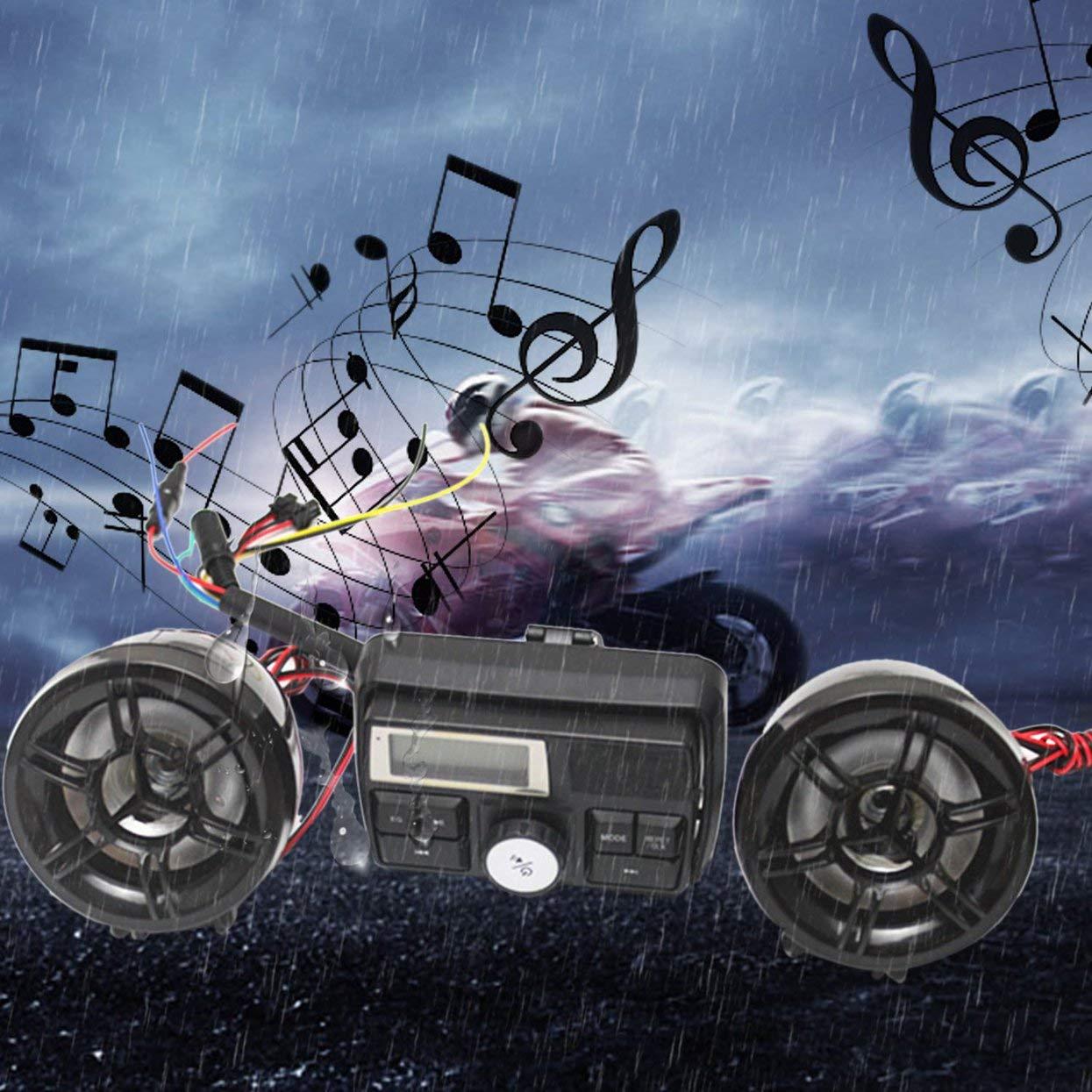 Lettore MP3 TF USB Anti-Ladro Sistema Audio Audio Tellaboull for Impermeabile con Telecomando Radio FM per Moto da 12 V Altoparlanti Stereo