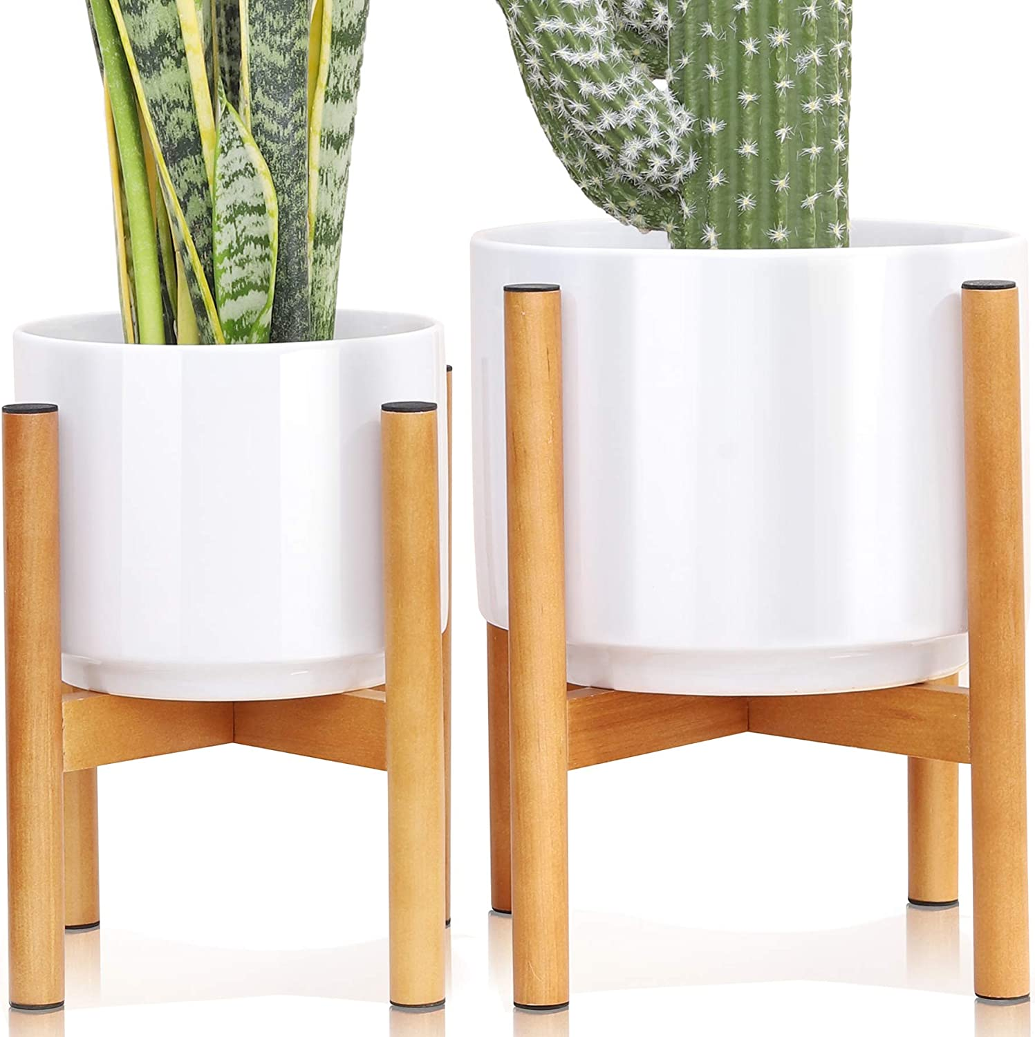 Set 2 Indoor Mid Century Modern Ceramic Planter with Wood Stand Outdoor About 8 Inch & 10 Inch Diameter, Round White Standing Planters with Drainage and a Plug, Outdoor White Garden Cactus Planters