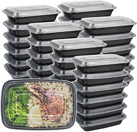 Meal Prep Containers Food Storage Bento Lunch Box Lids Reusable Microwave Safe